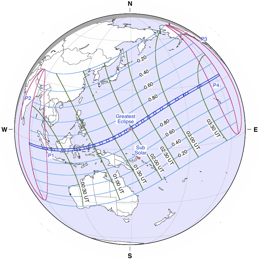Solar Eclipse Path Map March 2016